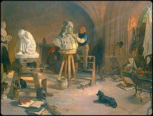 Freitag rzezbiacy popiersie Heweliusza